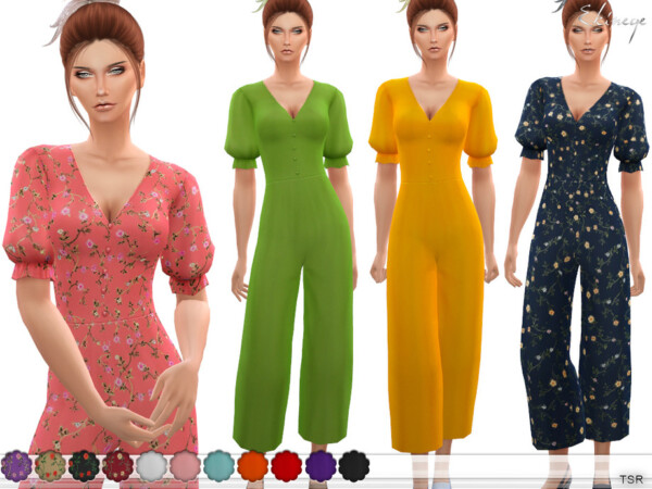 The Sims Resource: Puff Sleeve Wide Leg Jumpsuit by ekinege