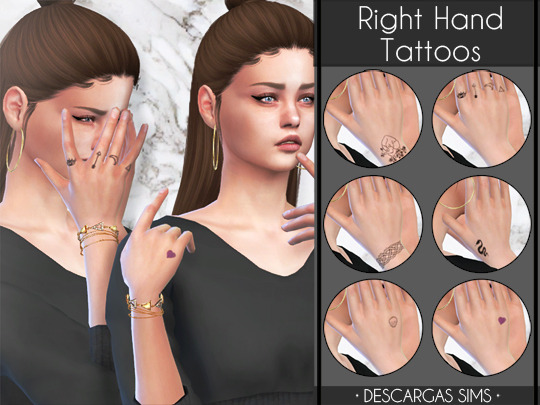 Descargas Sims: Right Hand Tattoos