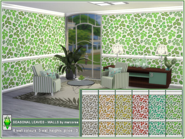 The Sims Resource: Seasonal Leaves Walls by marcorse