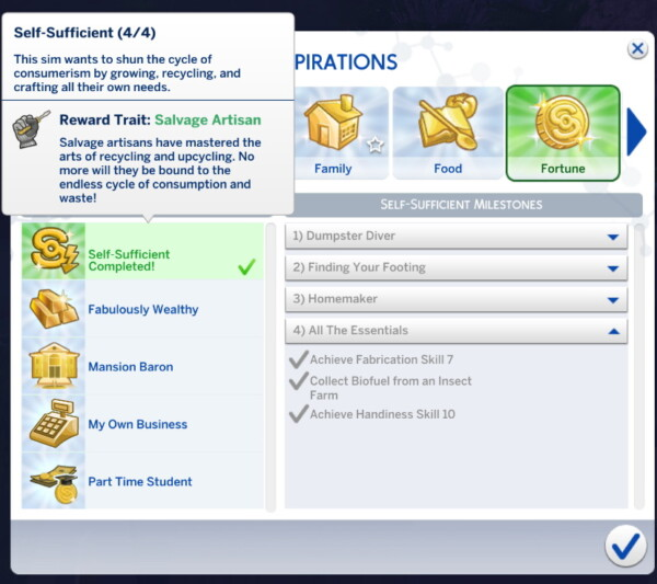 Self Sufficient Aspiration by MissBee from Mod The Sims