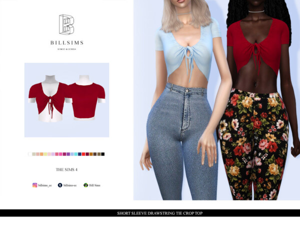 The Sims Resource: Short Sleeve Drawstring Tie Crop Top by Bill Sims