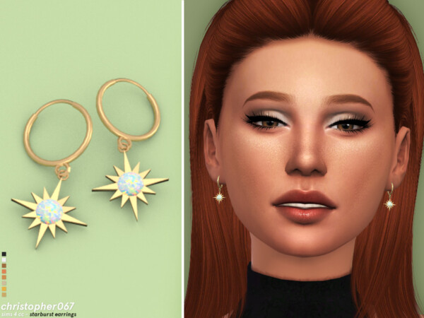 The Sims Resource: Starburst Earrings by Christopher067