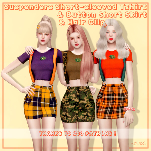 Rimings: Suspenders Short sleeved Tshirt, Button Short Skirt and Hair Clip