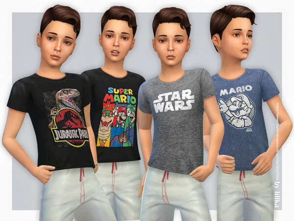 The Sims Resource: T Shirt Collection for Boys P18 by lillka