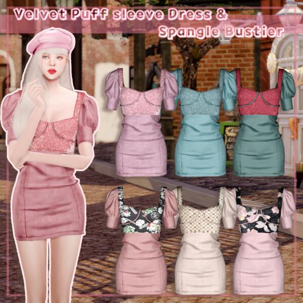 Rimings: Velvet Puff sleeve Dress and Spangle Bustier