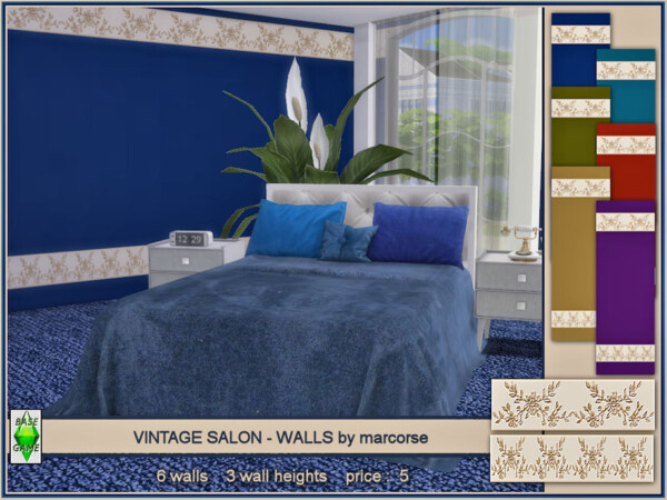 The Sims Resource: Vintage Salon   Walls by marcorse