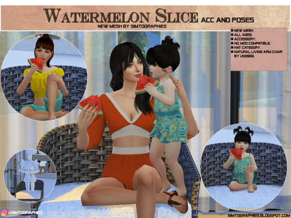 Simtographies: Vanya Outfit, Beth Dress V2, Watermelon Slice, Anabella Skin and Lena Skin