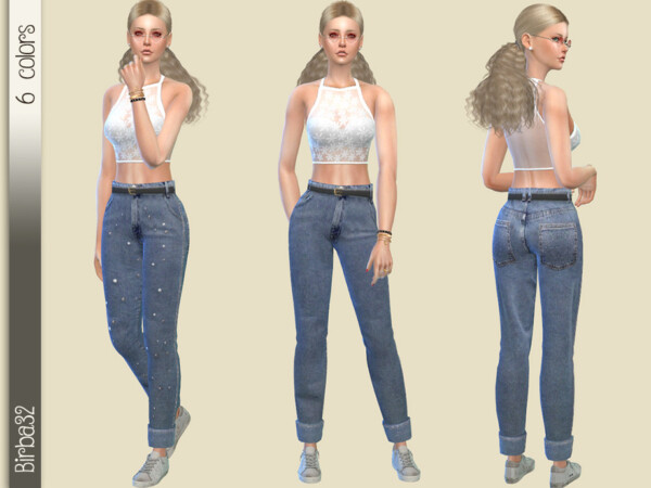 The Sims Resource: Wide Jeans with pearls by Birba32