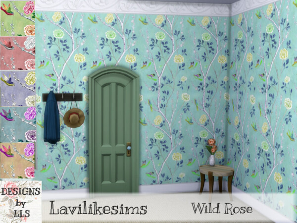 The Sims Resource: Wild Rose Walls by lavilikesims