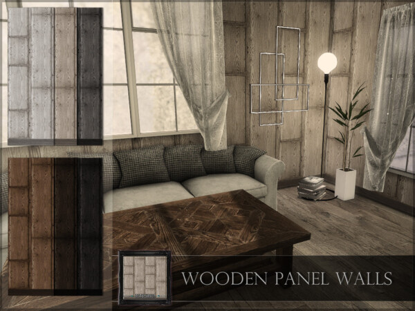 The Sims Resource: Wooden Panel Walls by RemusSirion
