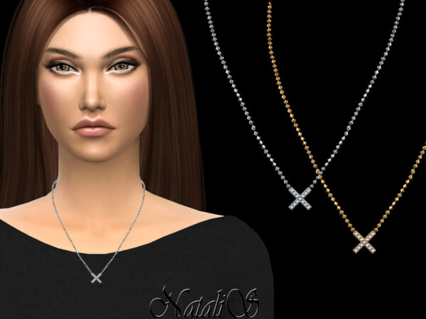 The Sims Resource: X shaped pendant necklace by NataliS