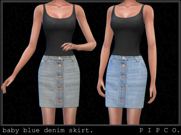 The Sims Resource: Baby blue denim skirt by Pipco