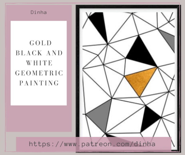 Gold Black and White Geometric Painting from Dinha Gamer