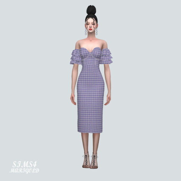 Tiered Sleeves Off Shoulder Midi Dress from SIMS4 Marigold