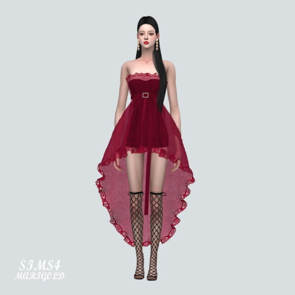 U Lace Mini Dress With Belt V3 from SIMS4 Marigold