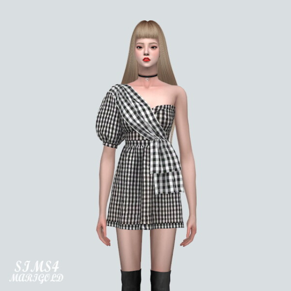 A Unbalance Puff Sleeves Mini Dress from SIMS4 Marigold
