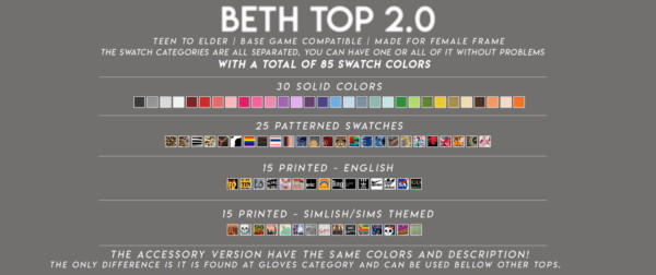 Beth top 2 from Candy Sims 4