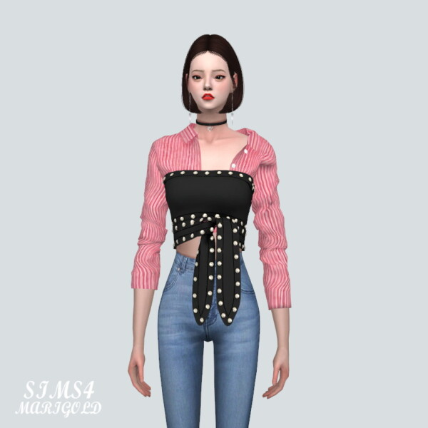 Stud Ribbon Crop Top With Shirts from SIMS4 Marigold