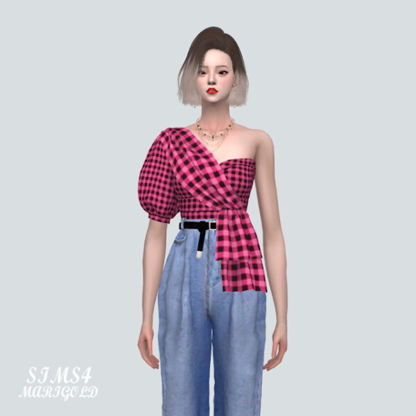 A Unbalance Puff Sleeves Tube Top from SIMS4 Marigold