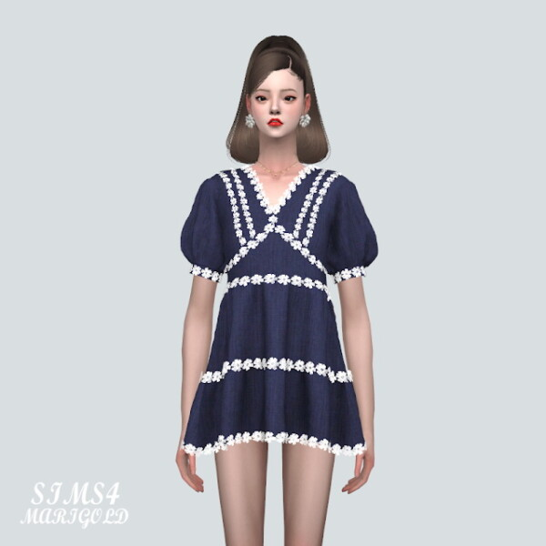 A Flower Lace Mini Dress from SIMS4 Marigold