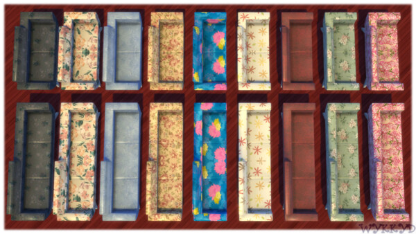 Fat Bottom Sofa and Loveseat Retro Floral Prints Collection by Wykkyd from Mod The Sims