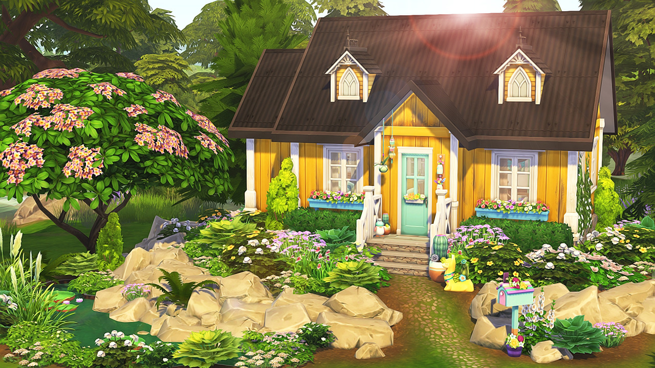 Cozy pastel grandma cottage from Aveline Sims • Sims 4 ...