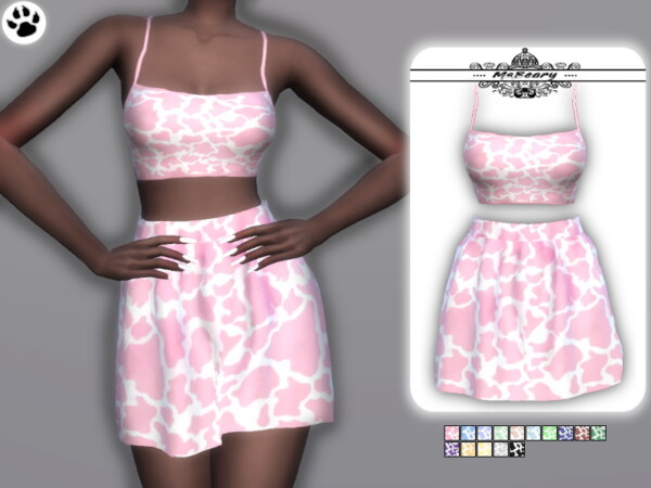 Cow Print Skirt and Top by MsBeary from TSR