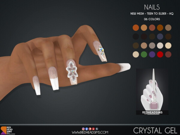 Crystal Gel Nails from Red Head Sims