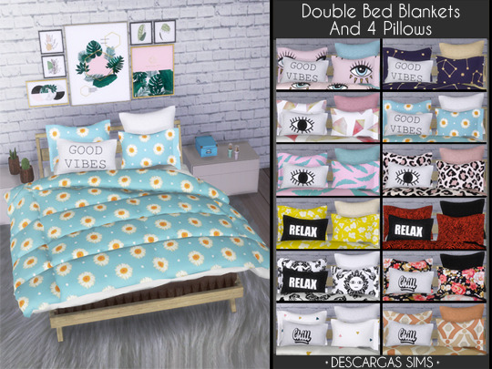 Double Bed Blankets and 4 Pillows from Descargas Sims