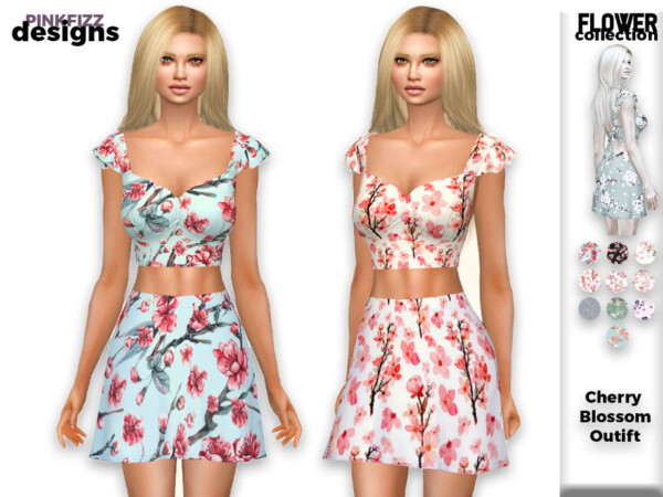 Flower Cherry Blossom Outfit 148 by Pinkfizzzzz from TSR