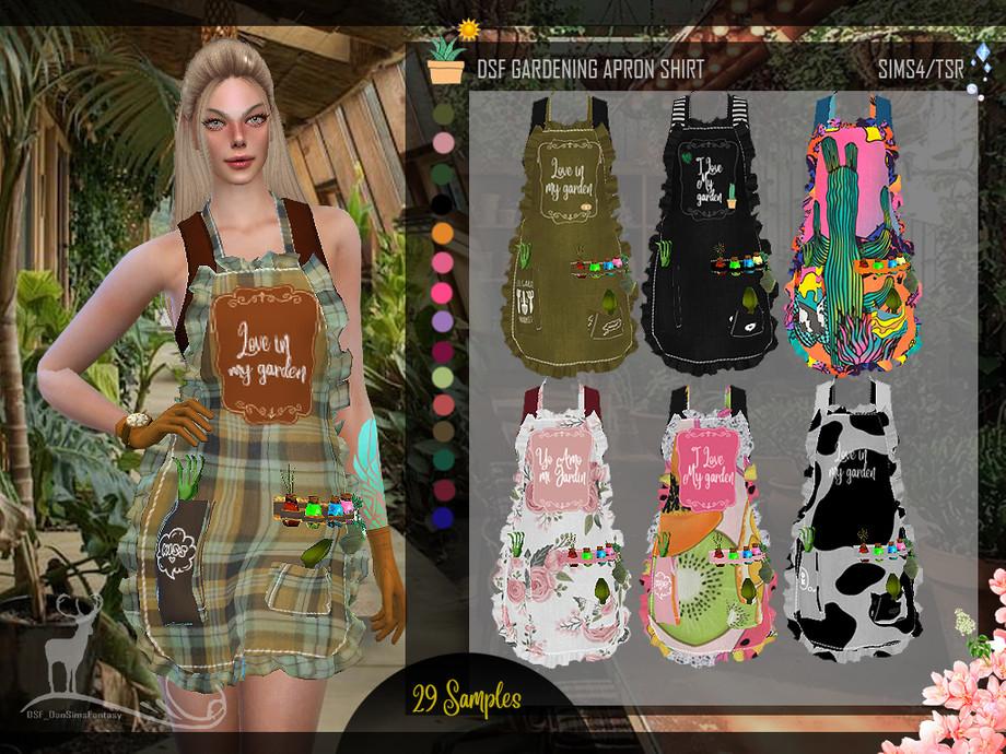 Gardening Apron Shirt by DanSimsFantasy from TSR • Sims 4