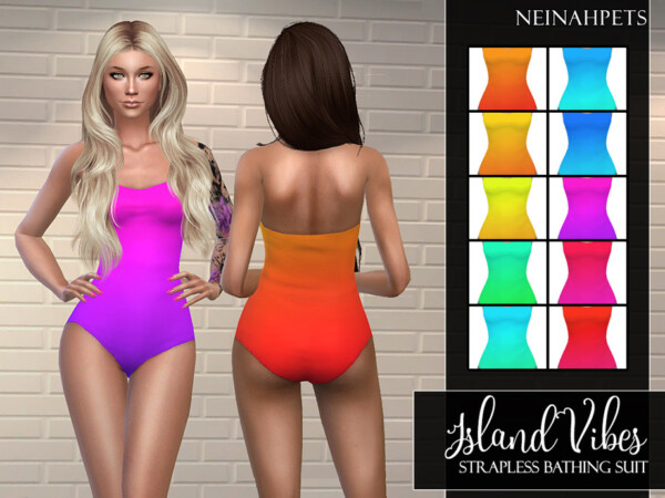 Island Vibes Strapless Bathing Suit by neinahpets from TSR