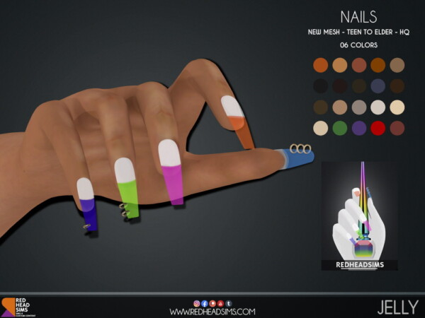 Jelly Nails from Red Head Sims