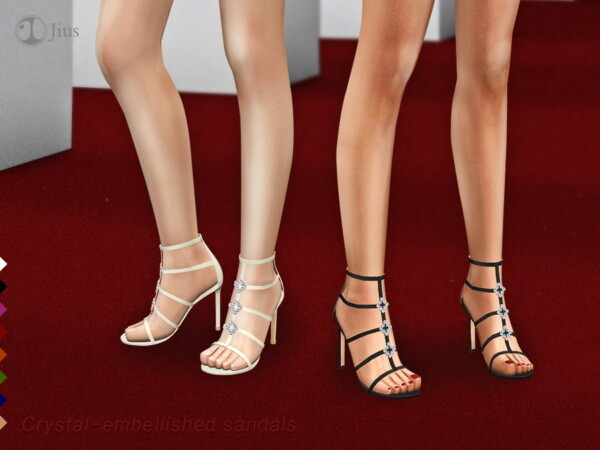 Crystal embellished sandals 01 by Jius from TSR