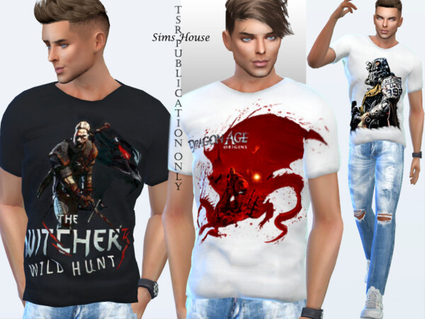 Mens T shirt with game prints by Sims House from TSR