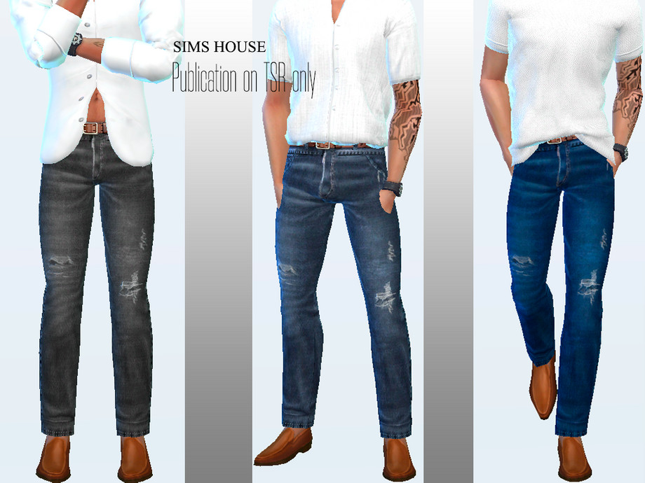 Men #39 s jeans with brown belt by Sims House from TSR • Sims