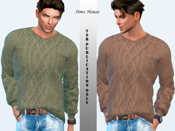 Mens sweater knitted with a complex pattern by Sims House from TSR