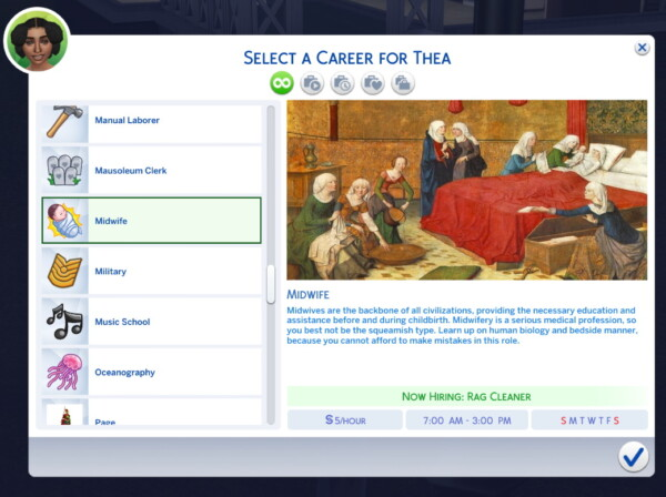 Midwife Career mod Medieval Themed by sokkarang from Mod The Sims