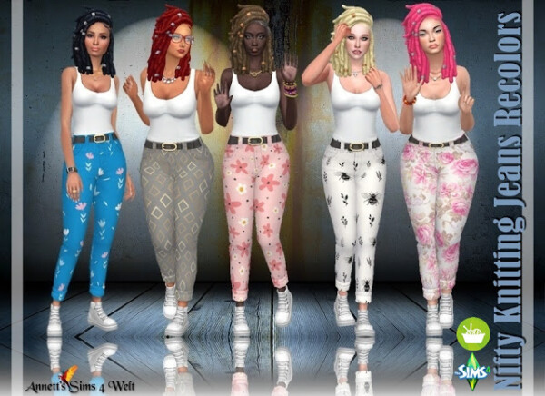Nifty Knitting Jeans Recolors from Annett`s Sims 4 Welt