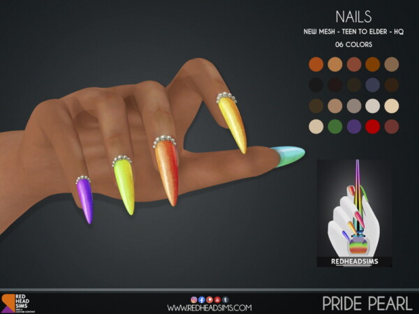 Pride Pearl Nails from Red Head Sims