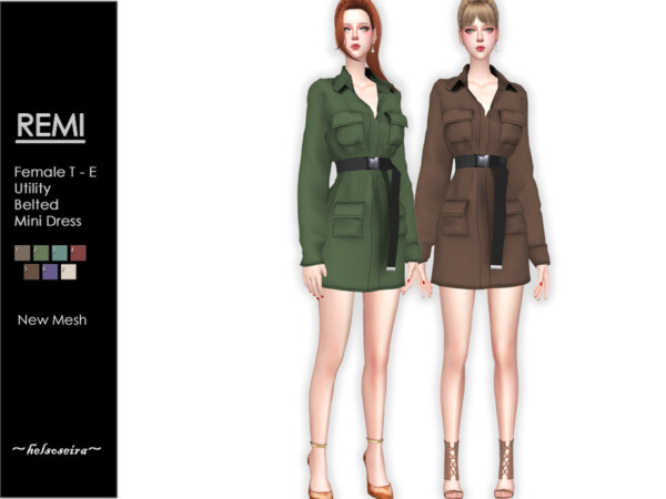 Remi Utility Belted Mini Dress by Helsoseira from TSR