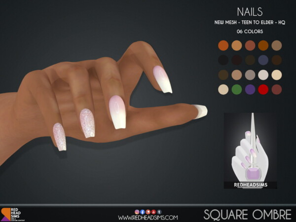 Square Ombre Nails from Red Head Sims