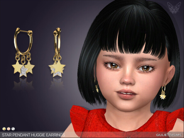Star Drop Huggie Earrings For Toddlers by feyona from TSR