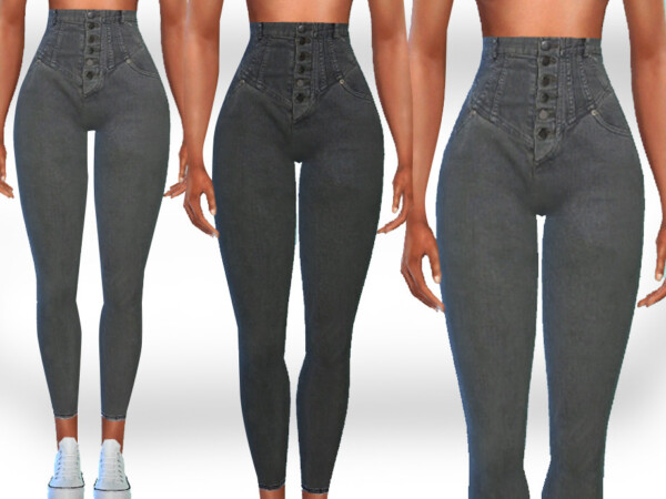 Super High Waist Button Jeans by Saliwa from TSR