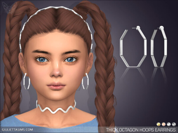 Thick Octagon Hoop Earrings For Kids from Giulietta Sims