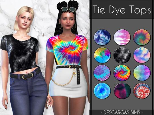 Tie Dye Tops from Descargas Sims