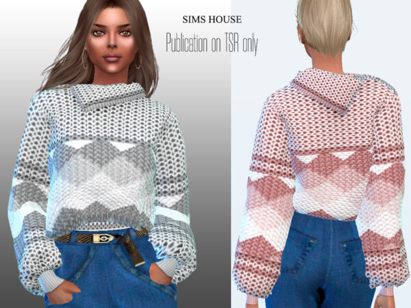 Womens Knitted Sweater with Zip Neck and Rhombuses by Sims House from TSR
