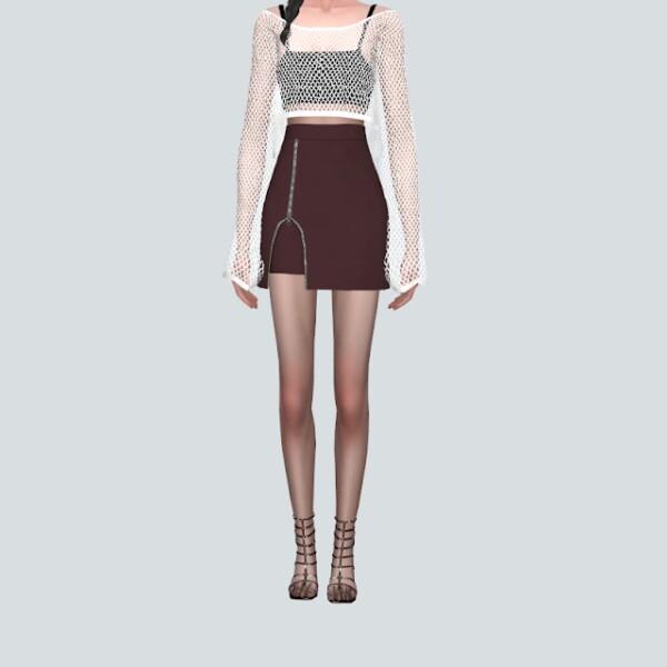 Zipper Slit Mini Skirt from SIMS4 Marigold