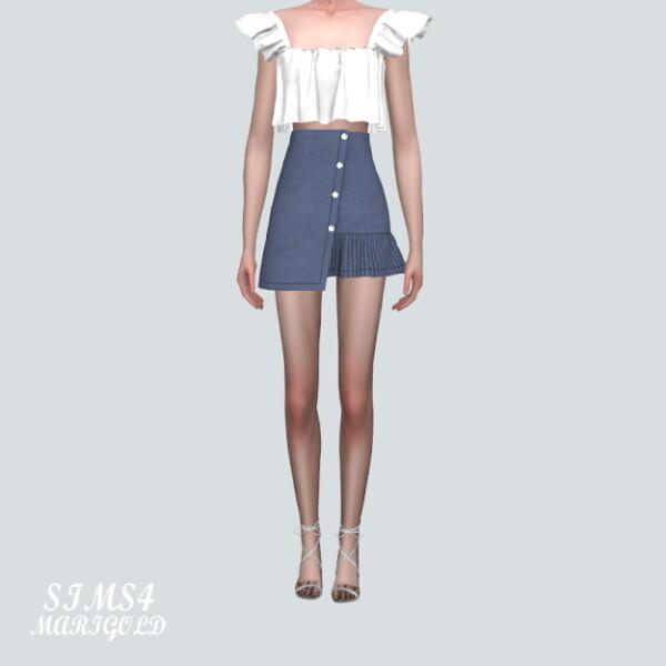 A Unbalance Denim Mini Skirt from SIMS4 Marigold