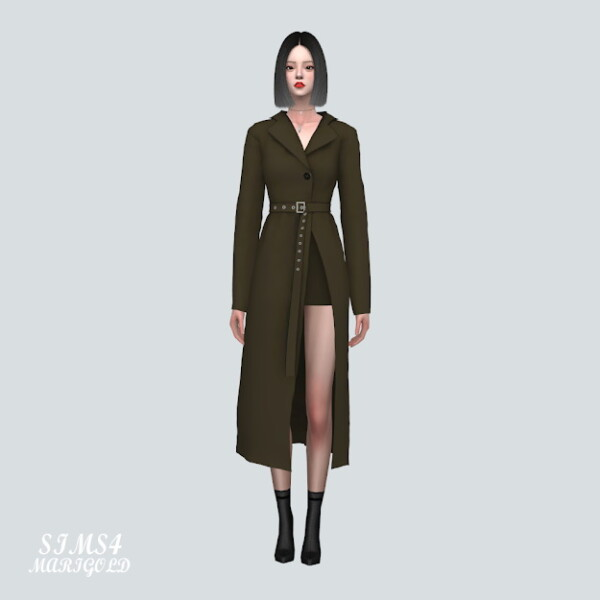 Long Jacket Dress With Belt from SIMS4 Marigold